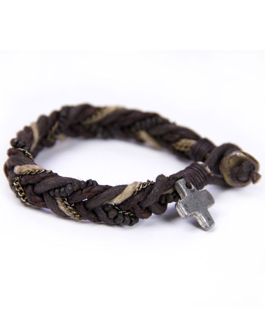 Leather with cross bracelet-0