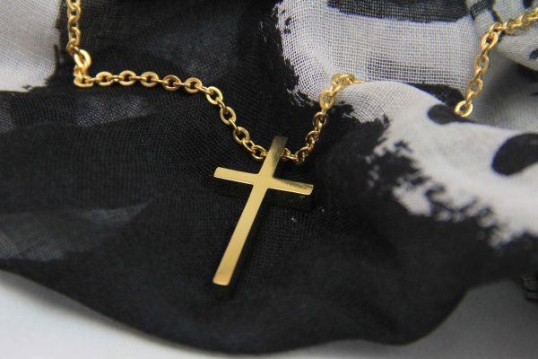 LARGE GEOMETRIC CROSS NECKLACE GOLD PLATED-0