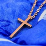 LARGE GEOMETRIC CROSS NECKLACE GOLD ROSE-0