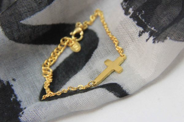 SMALL CROSS BRACELET GOLD PLATED-0