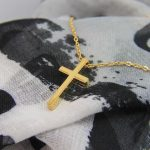 SMALL GEOMETRIC CROSS NECKLACE GOLD PLATED-0