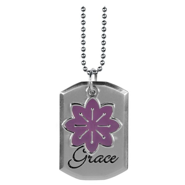 Tag with Purple Flower Charm Necklace - Eph 2:8-0