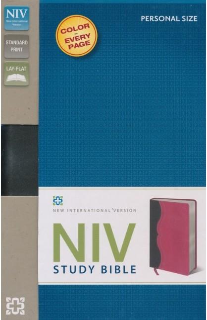 NIV STUDY BIBLE IMITATION LATHER CHARCOAL PINK-0